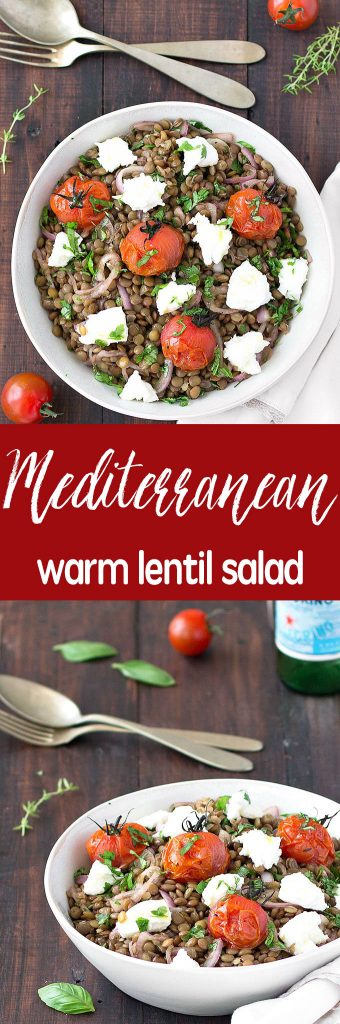 Mediterranean warm lentil salad - a simple, healthy, vegetarian, naturally gluten-free and tasty salad.