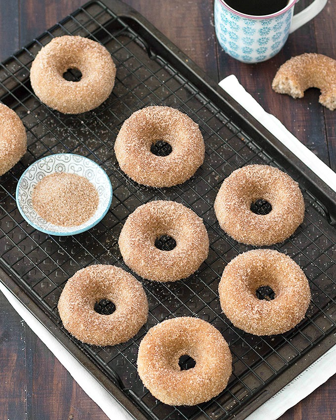 You're going to love these baked cinnamon sugar donuts. They are moist, soft, fluffy and just bursting with warm, comforting flavors like cinnamon and nutmeg