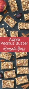 Simple, no-bake chewy apple peanut butter granola bars! Perfect as a snack or even for breakfast! Vegan and gluten free options!