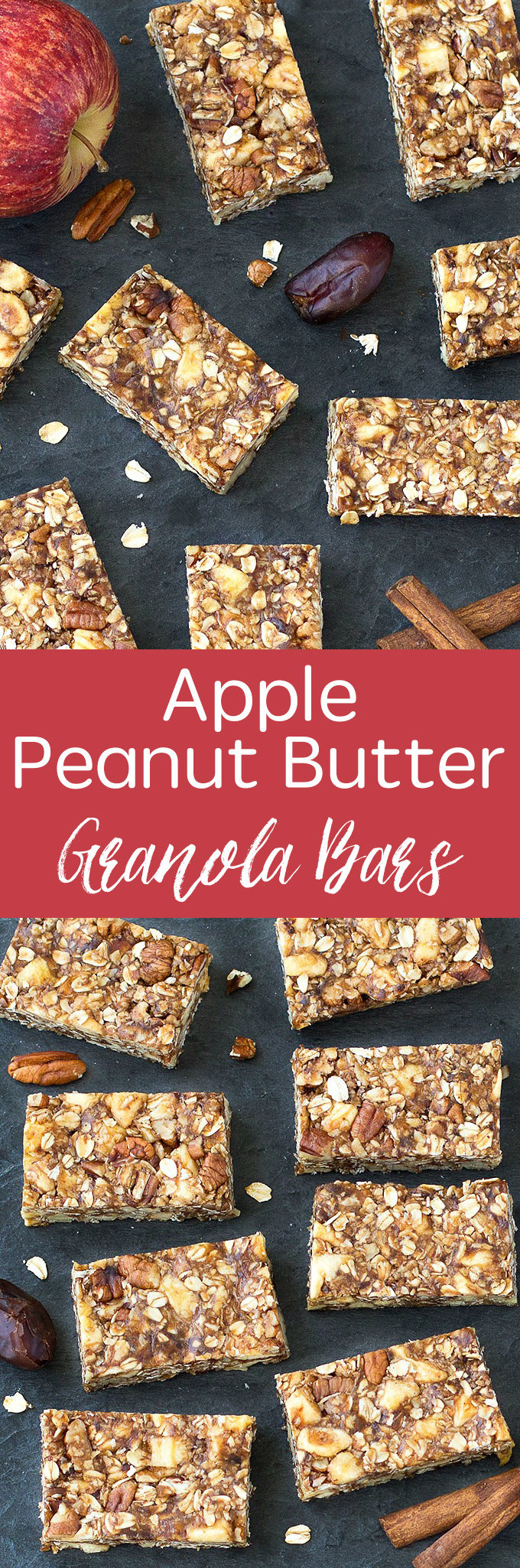 Simple, no-bake chewy, homemade Apple Peanut Butter Granola Bars! Perfect as a snack or even for breakfast! Vegan and gluten free options! #bars #apple #snack #healthy #healthyrecipes