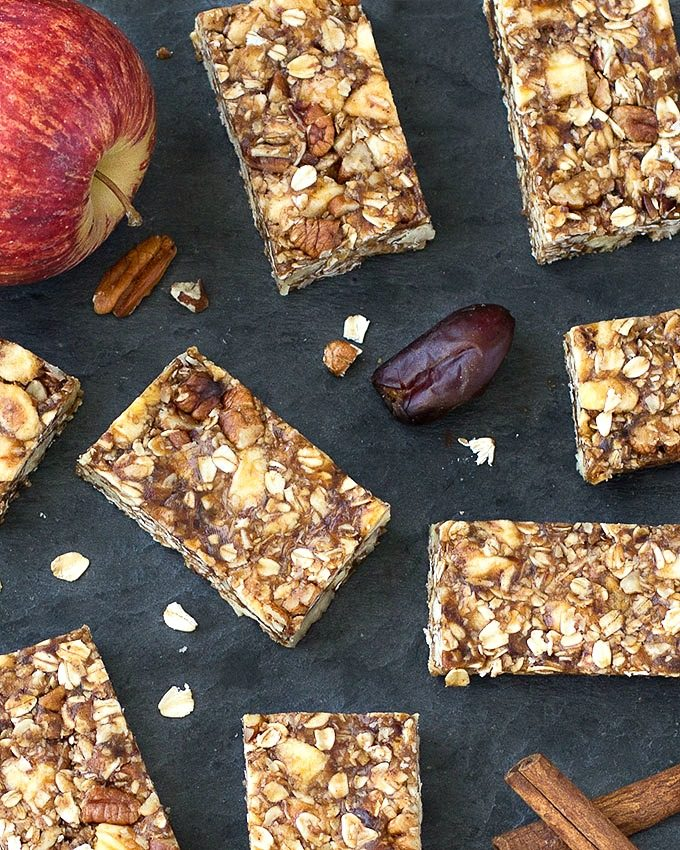 Chewy Apple Peanut Butter Granola Bars