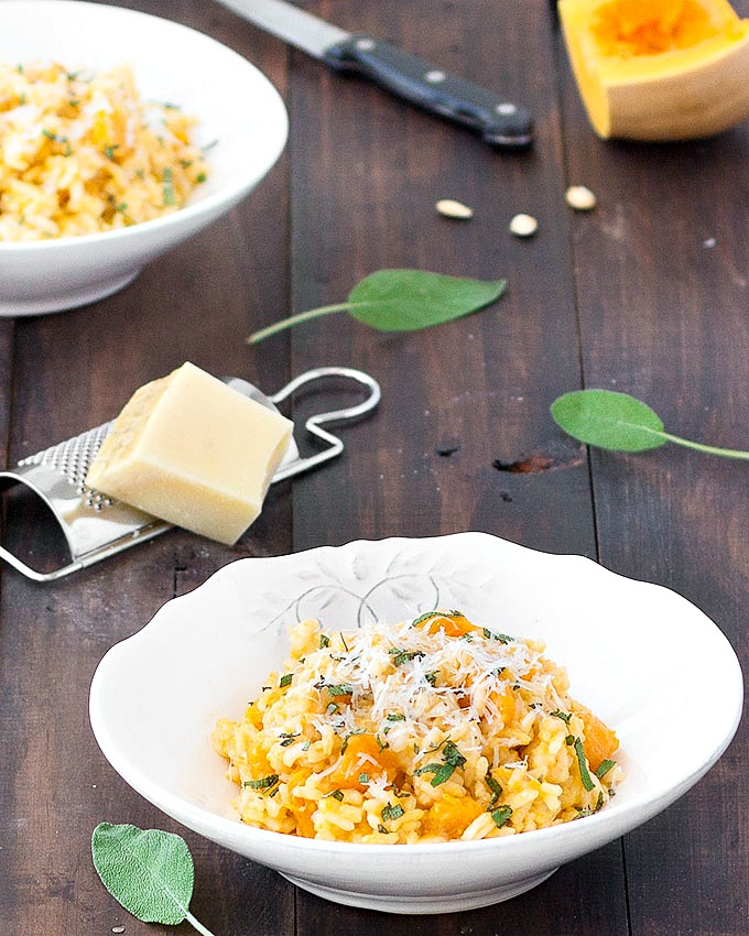 Creamy Butternut Sage Risotto - full of comforting flavors, and perfect for a simple weeknight dinner. It's easy, cost effective and it can be on the table in less than one hour.