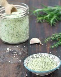 homemade flavored salt (garlic and herbs)