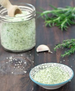 homemade flavored salt (garlic and herbs)