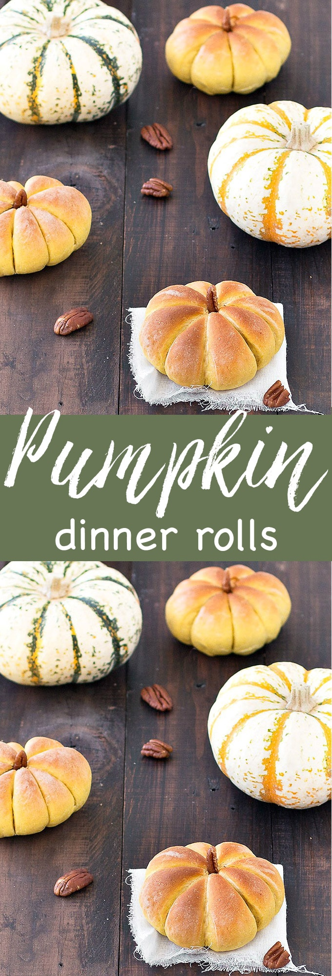 These pumpkin dinner rolls will be a hit at your Thanksgiving or Halloween dinner table with their adorable pumpkin shapes. This fall recipe is vegan and vegetarian. #fall #autumn #baking #dinnerrolls #bread #rolls #pumpkin #thanksgiving #halloween