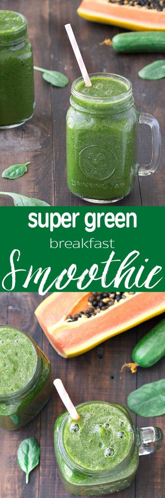 Get your greens, vitamins, minerals and fiber all in one glass with this Super Green Breakfast Smoothie. Only 78 calories!