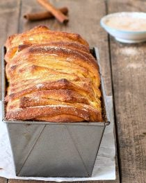 Cinnamon sugar pull-apart bread in a loaf pan