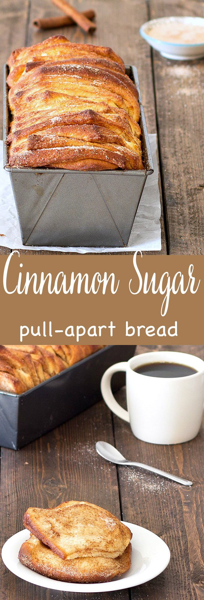 This easy cinnamon sugar pull-apart bread is soft and fluffy on the inside, golden-brown and crunchy on the outside. Perfect for breakfast or as a snack. #breakfast #brunch #cinnamon #baking #easyrecipe #pullapart #bread