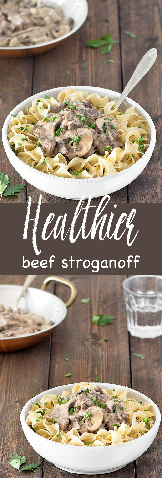 This healthier beef stroganoff takes just 30 minutes to make. It uses no butter or sour cream and it's just as tasty as the full-fat version. #beef #stroganoff #healthy #recipe #lightenup #weeknightmeal #dinner #easyrecipes