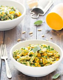 pasta with butternut squash and kale pesto