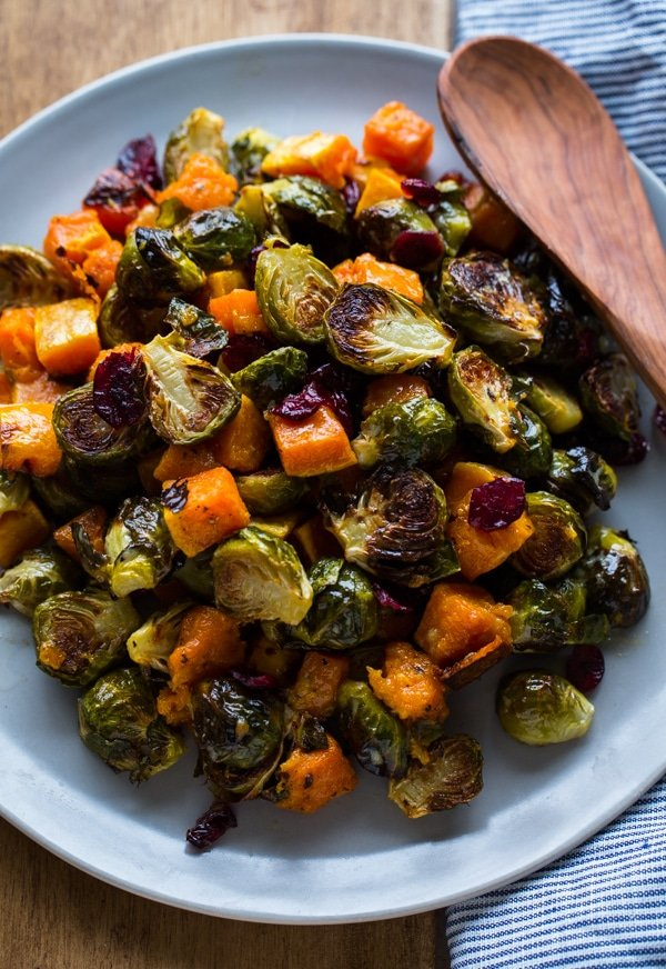 Caramelized Brussel sprouts, creamy butternut squash, tart and sweet ...