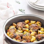 One pan baked chicken and potatoes - a super easy, amazingly flavored midweek meal to add to your rotation!