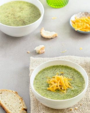 Broccoli cheddar soup: rich, hearty, creamy and thick. This lightened-up version is made without cream but it's still very tasty!