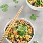 Quinoa fried rice is a quick, simple and healthy alternative to traditional fried rice. This recipe comes together in 30 minutes and even less if you have pre-cooked your quinoa.