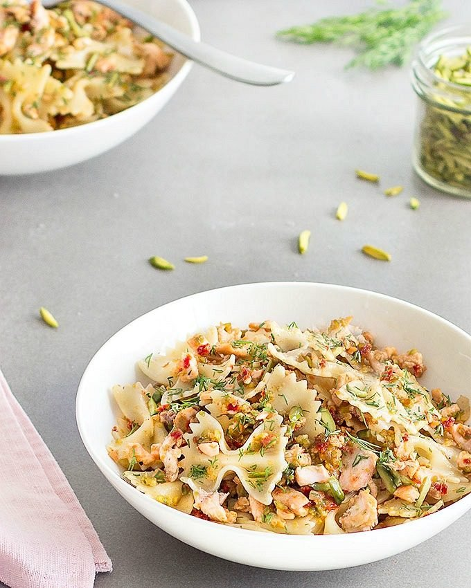 Salmon Pasta with Pistachios and Sun-Dried Tomatoes