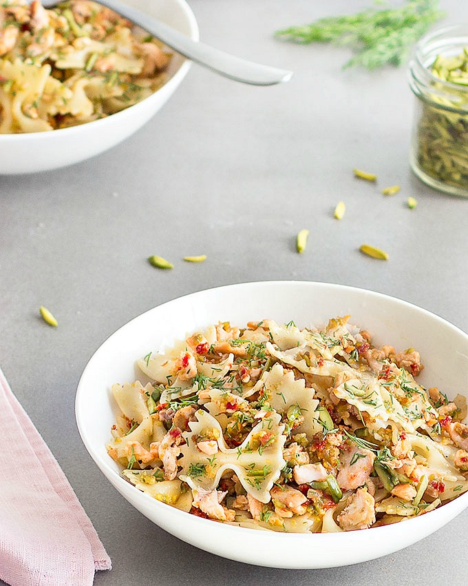 This salmon pasta with pistachios and sun-dried tomatoes is easy enough for a weeknight lunch or dinner but fancy enough for a special occasion.