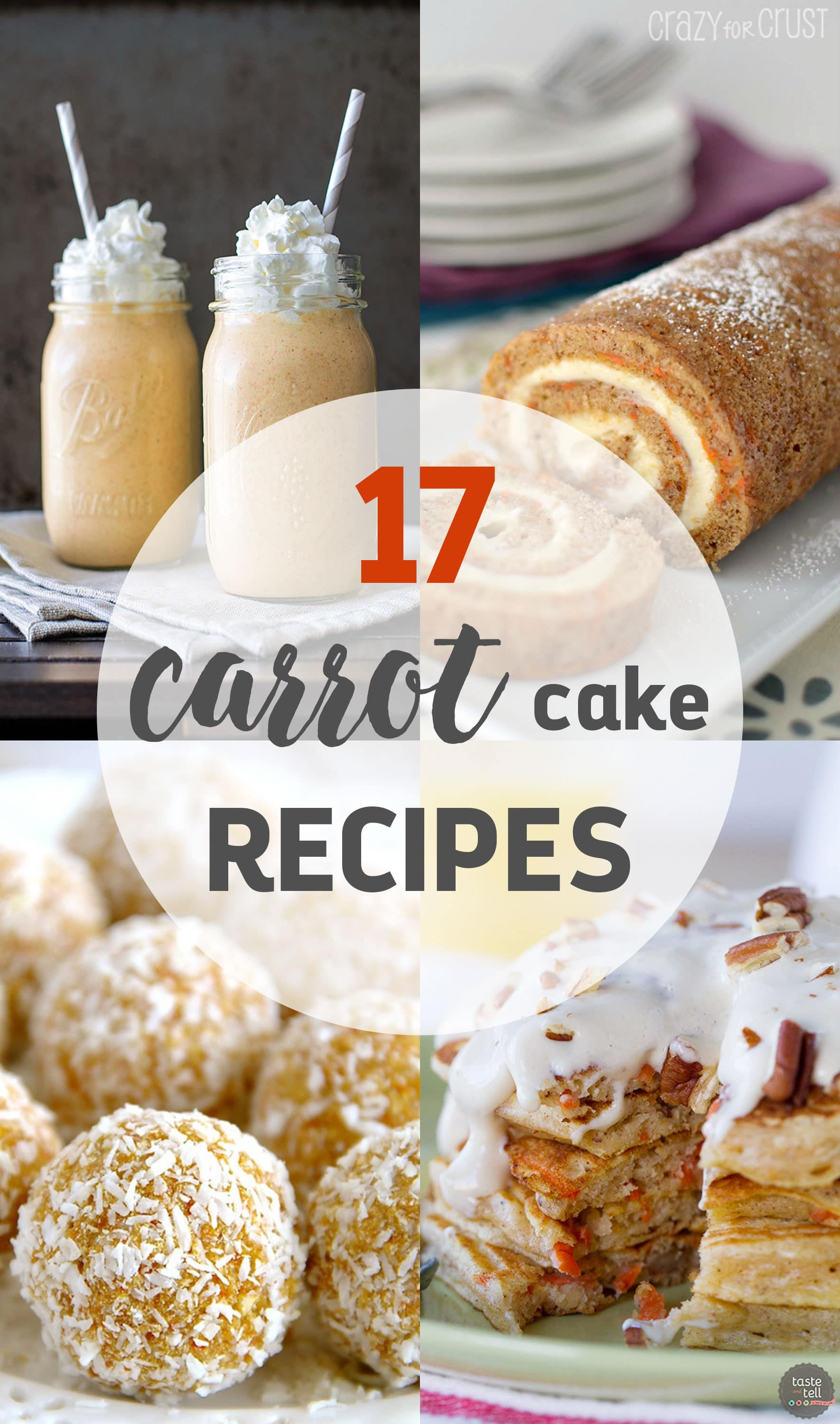 An amazing list of 17 unique, creative and delicious carrot cake recipes that everyone will love! Cookies, cinnamon rolls, smoothie, pancakes, and more!