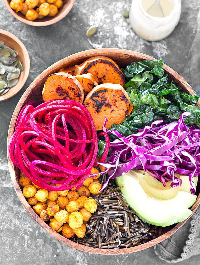Vegan buddha bowl without dressing