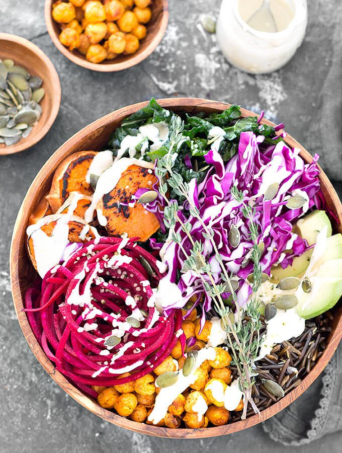 This Nourishing Vegan Buddha Bowl with Lemon Tahini Dressing is not only tasty but also filling, healthy and satisfying.