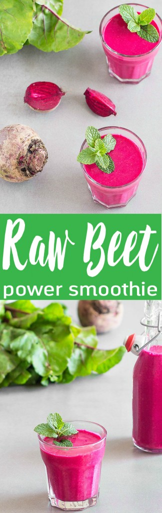 A rich, creamy, refreshing, and energizing raw beet raspberry power smoothie packed with nutritious ingredients. No added sugar.