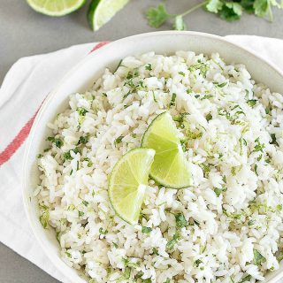 This cilantro lime rice is perfect served with meat, chicken, fish, shrimp or with your favorite Mexican dishes. It is so simple, yet very flavorful, fresh and delicious!