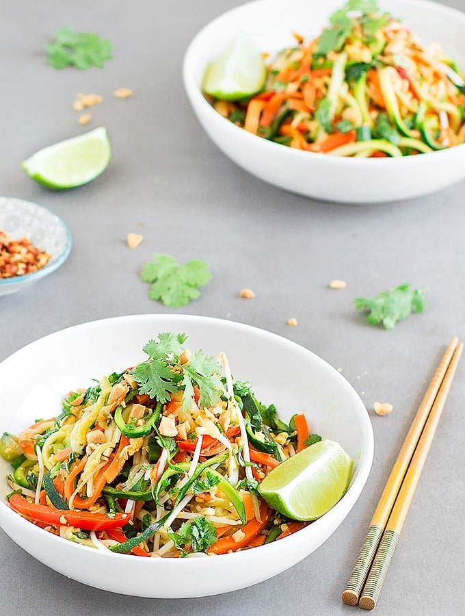 Pad Thai Zoodles - a quick, simple and healthy lunch or dinner that is on the table in just 20 minutes. This recipe is a great low-carb version of Pad Thai
