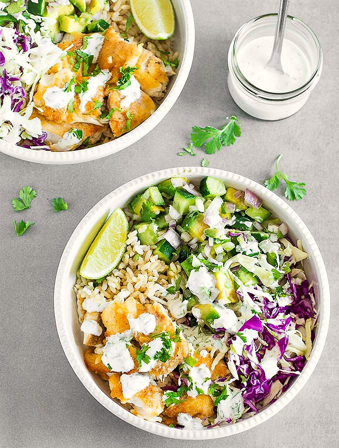 Fish Taco Bowls with Cilantro Lime Crema