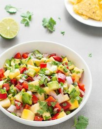A super easy, fresh, healthy and colorful Mango Avocado Salsa that comes together in just a few minutes.