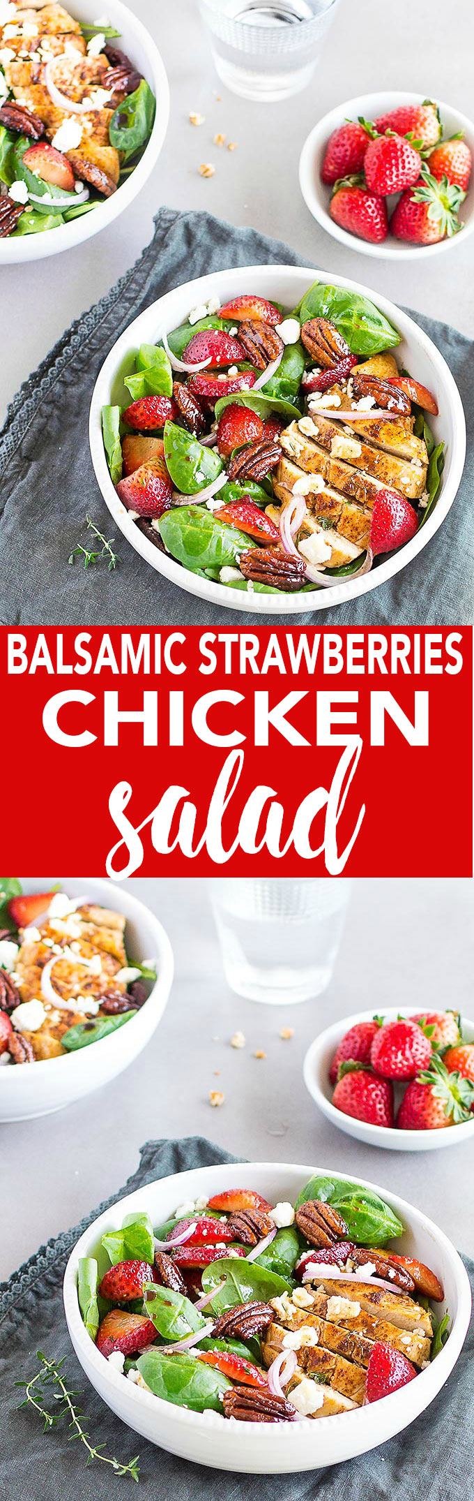A flavorful, colorful and filling chicken salad loaded with baby spinach, juicy strawberries, candied pecans, thinly sliced red onions and crumbled feta cheese.