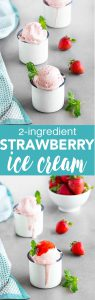 Strawberry Banana Ice Cream - just 2 simple ingredients, no ice cream maker needed and it's ready in less than 10 minutes. This guilt-free frozen treat is gluten-free, dairy-free, refined sugar-free, and vegan.