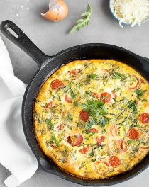 Baked Frittata with Cherry Tomato and Arugula - easy to put together, filling, versatile, and perfect for breakfast, brunch, lunch or dinner.