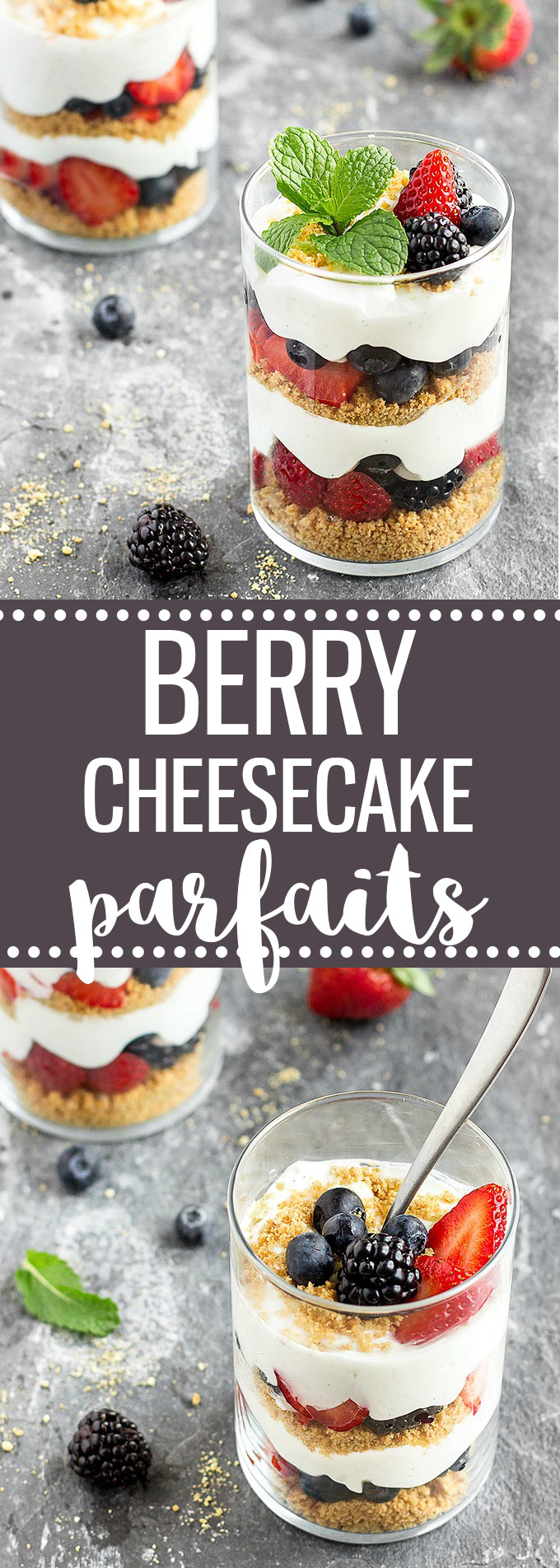 If you are looking for an easy, quick, and no-bake dessert, try these lighten-up Berry Cheesecake Parfaits. #lightenup #cheesecake #dessert #parfait #berries #easyrecipe | aseasyasapplepie.com