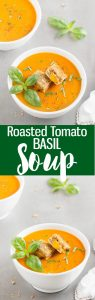 An easy and creamy Roasted Tomato Basil Soup topped with golden grilled cheese croutons. No heavy cream, cream cheese or sugar added to the soup!
