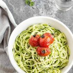 Zucchini Noodles with Avocado Sauce and Burst Cherry Tomatoes - a delicious, and healthy recipe that comes together in 30 minutes with minimal prep! Perfect as a meal on its own, or as a side dish. Vegetarian, Vegan and Gluten-Free