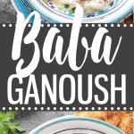 Easy Baba Ganoush Recipe - a traditional Middle Eastern dip made with roasted eggplants, tahini, garlic, salt and lemon juice. Pair it with veggie sticks or pita chips for a healthy appetizer, or use it as a spread for sandwiches and wraps.