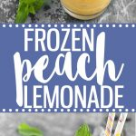 Frozen peach lemonade - the perfect refreshing beverage to cool you down this summer! This easy recipe requires just 4 ingredients, a blender and 5 minutes! Add some vodka for a delicious adult version!