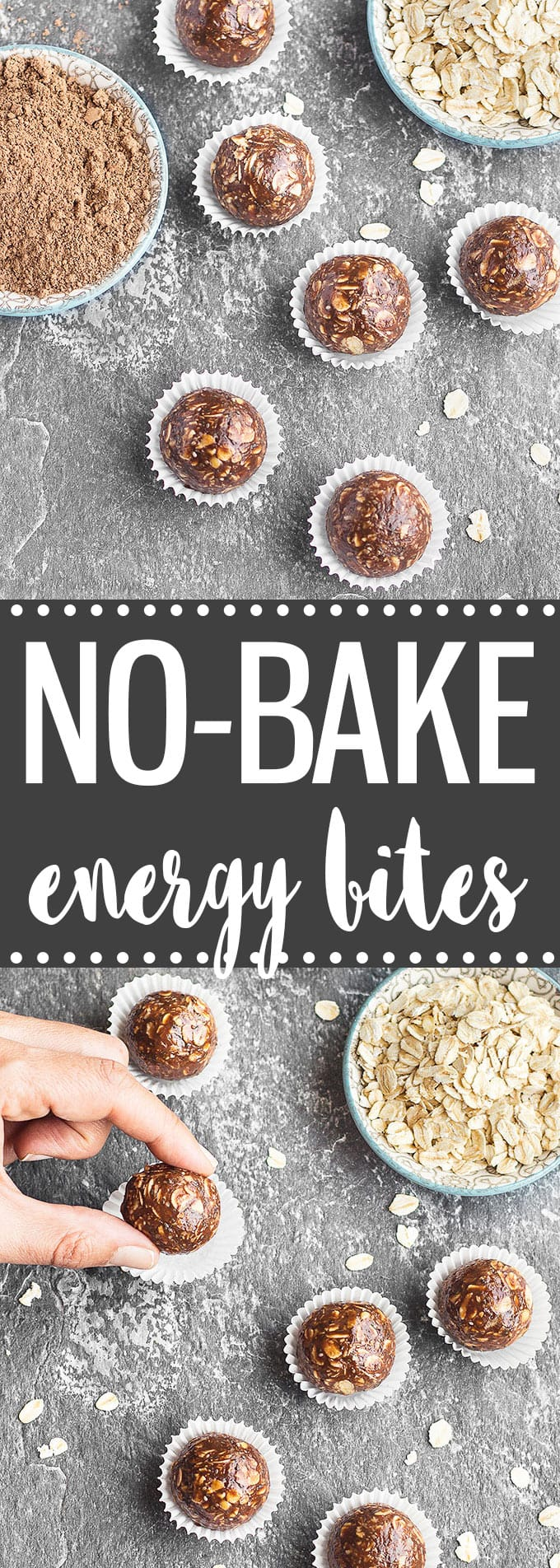 No-Bake Chocolate Peanut Butter Energy Bites -  a quick, healthy and super easy breakfast or snack on-the-go.