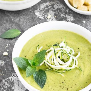 Creamy Zucchini Avocado Soup: a 20-minute healthy, easy recipe. | vegan