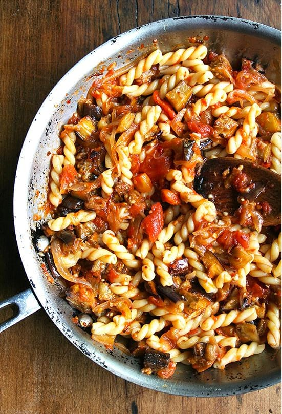 Eggplant, Caramelized Onion and Tomato Pasta - what to cook in September