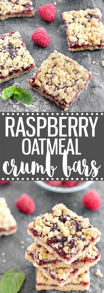 Raspberry Oatmeal Crumb Bars - A simple, one bowl recipe that takes just minutes to prepare. They make a great dessert, snack, or even breakfast!