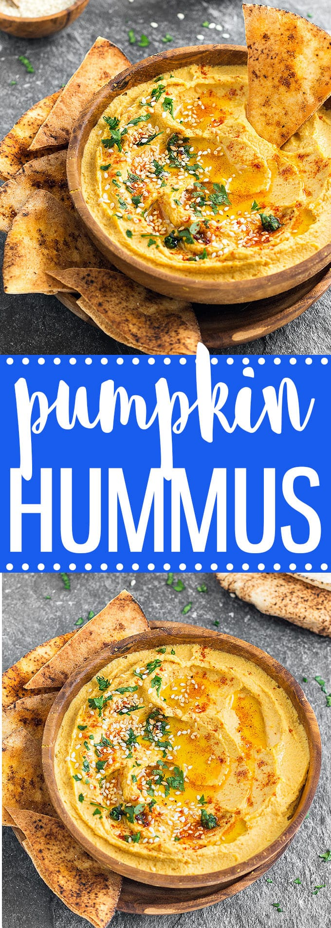 If you have pumpkin puree on hand, whip up a batch of this savory pumpkin hummus. Pair this dip with pita bread, crackers or veggie sticks and you have a delicious snack or appetizer ready in 5 minutes. #pumpkin #hummus #healthyrecipes #appetizer #snack #dip #fall #autumn #easyrecipes