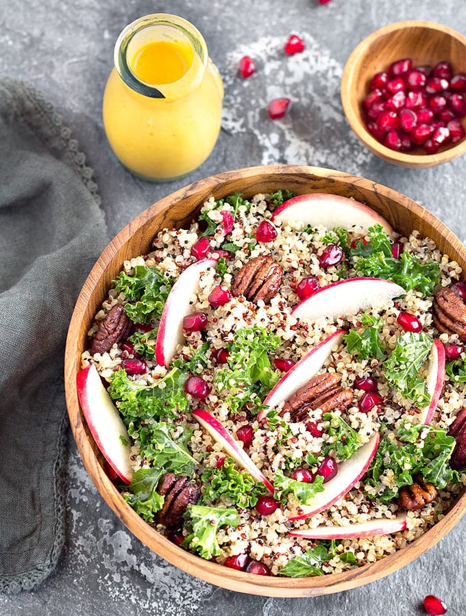Apple Kale Quinoa Salad with Pumpkin Turmeric Dressing