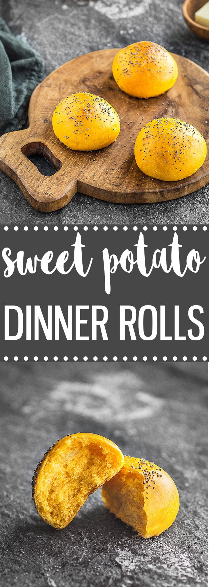 Soft and fluffy homemade sweet potato dinner rolls. This is the perfect easy recipe for your Thanksgiving dinner table and holiday gatherings! #homemade #bread #rolls #sweetpotatoes #thanksgiving #holidays #fall #fromscratch #baking #easyrecipe
