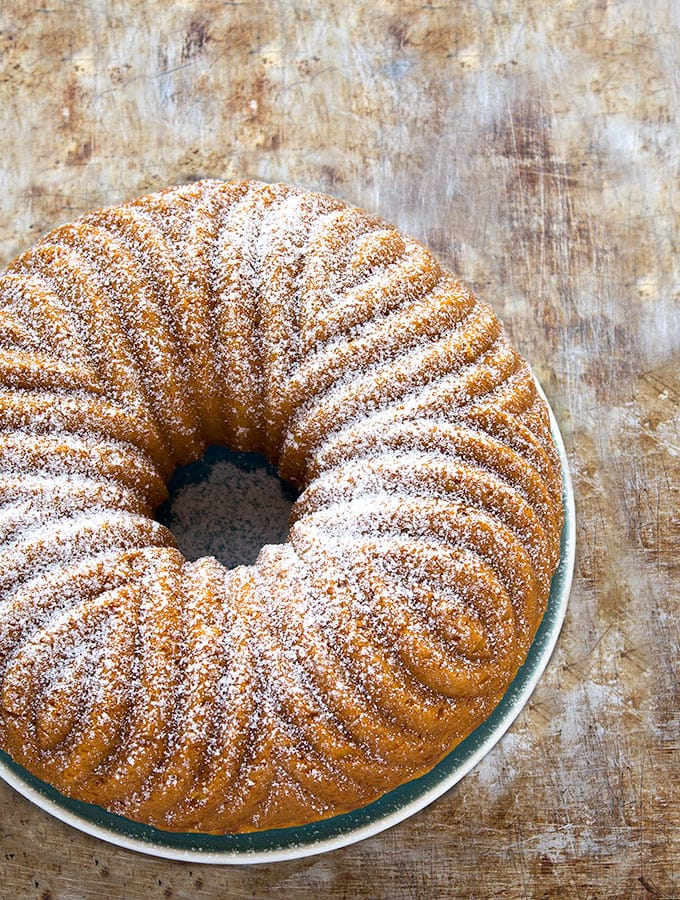 A delicious bundt cake topped with powdered sugar.