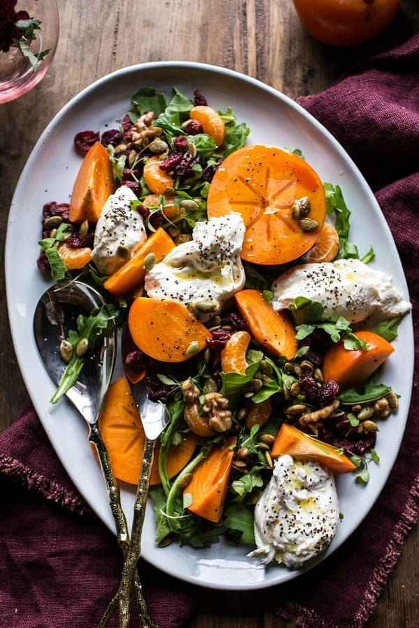 What to Cook in November - Take advantage of the seasonal bounty of winter squash, beets, and apples with these easy and tasty recipes. HARVEST CRANBERRY, PERSIMMON, AND BURRATA SALAD recipe
