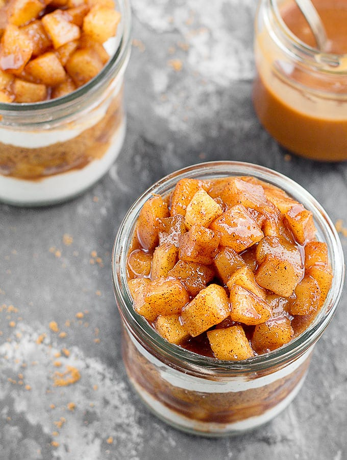 Apple Pie Yogurt Parfait Recipe - the perfect easy dessert for fall gatherings! It's creamy, crunchy, perfectly sweet, subtly spiced and delicious