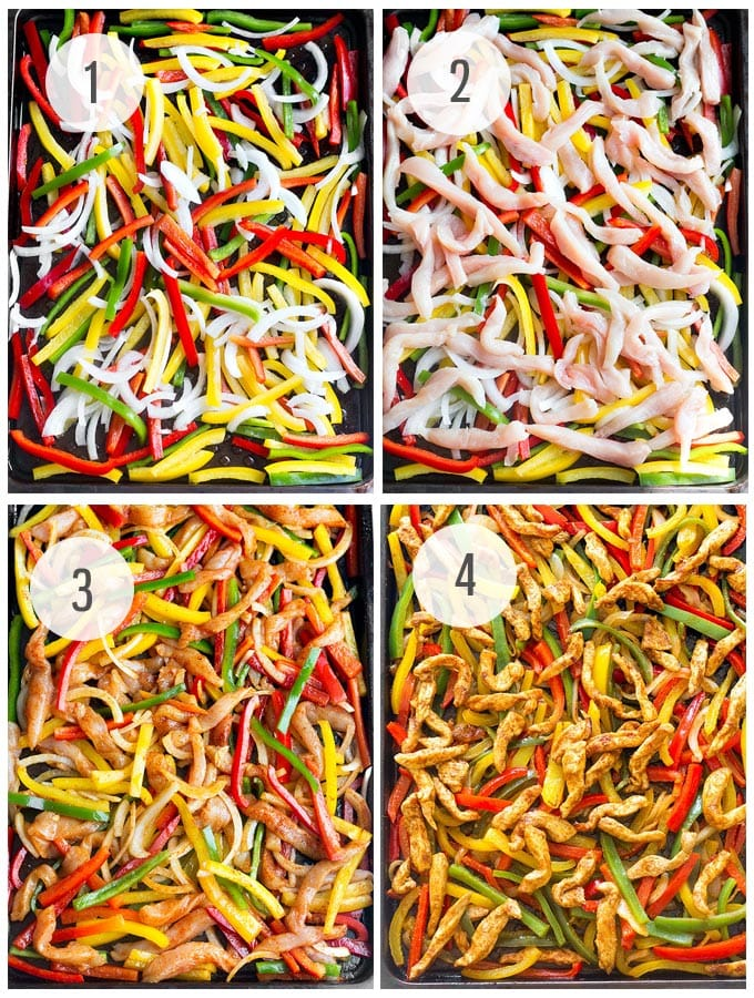 Sheet Pan Chicken Fajita Rice Bowls- A quick, simple and packed with flavor weeknight dinner that makes great leftovers! Step by step recipe
