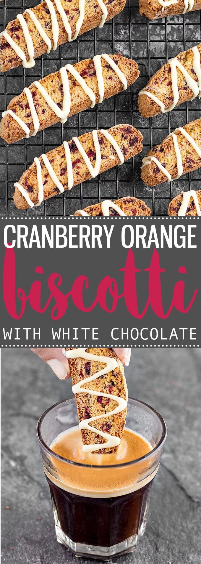 These crunchy Cranberry Orange Biscotti drizzled with white chocolate make a delightful and delicious holiday gift and they are perfect to dip into your hot coffee during the holidays! #christmas #holidays #cranberry #orange #biscotti #foodgift #giftideas #baking #easyrecipes