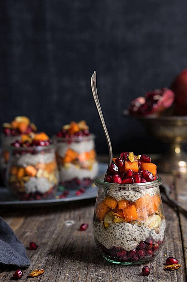 What to cook in January - Stock up on January's produce, and try these unique and delicious seasonal recipes! Persimmon Pomegranate Chia Bowl