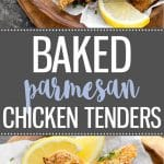 Crunchy baked parmesan chicken tenders with a creamy honey mustard dipping sauce - Perfect for a quick and easy weeknight dinner or as an appetizer!